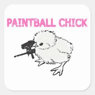 Paintball-Gewehr-Küken Quadrat-Aufkleber