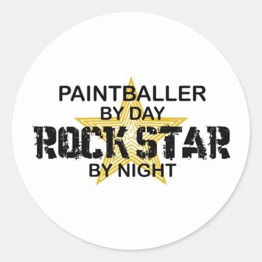 Paintballer Rockstar bis zum Nacht Runde Aufkleber