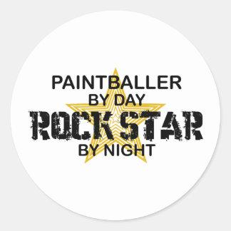 Paintballer Rockstar bis zum Nacht Runder Aufkleber