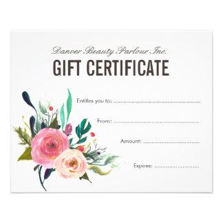 Painted Floral Beauty Salon Gift Certificate 11,4 X 14,2 Cm Flyer