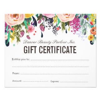 Painted Floral Beauty Salon Gift Certificate Flyer