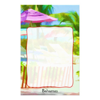 Painterly Bahamas-Sommer-Ferien-Strand-Szene Briefpapier