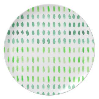 Painterly Stellen DashesGreen u. weiße Platte Melaminteller