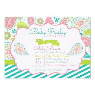 Paisley-Babyparty-Einladung Karte