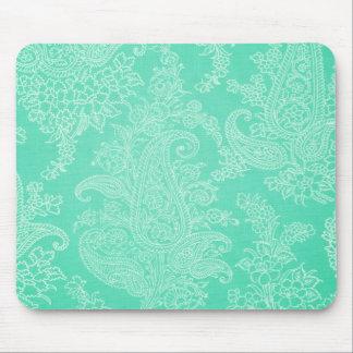 Paisley-Baum-Blumen-Stoffmuster des Aqua blaues Mousepad