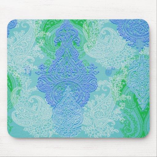 Paisley-Baum-Blumen-Stoffmuster des Aqua blaues Mauspad