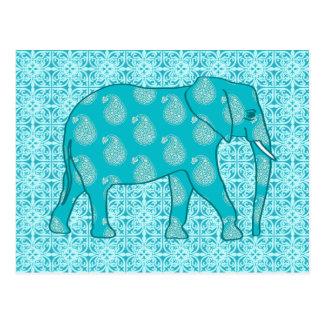 Paisley-Elefant - Türkis und Aqua Postkarte