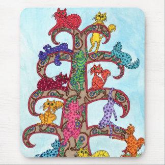 Paisley-Katzen-Baum des Lebens Mousepad