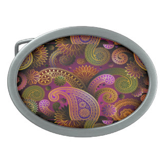 Paisley lila ovale gürtelschnalle