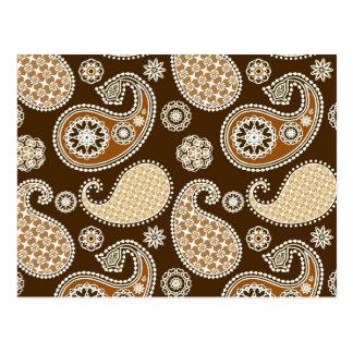 Paisley-Muster, schokoladenbraun und TAN Postkarte
