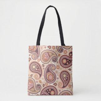 Paisley-Mustergelb und -BRAUN Tasche