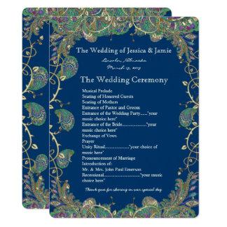 Paisley-Pfau färbt Hochzeits-Programm Karte
