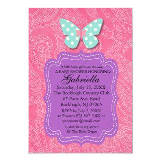 Paisly Rosa mit Schmetterlings-Babyparty-Einladung 12,7 X 17,8 Cm Einladungskarte