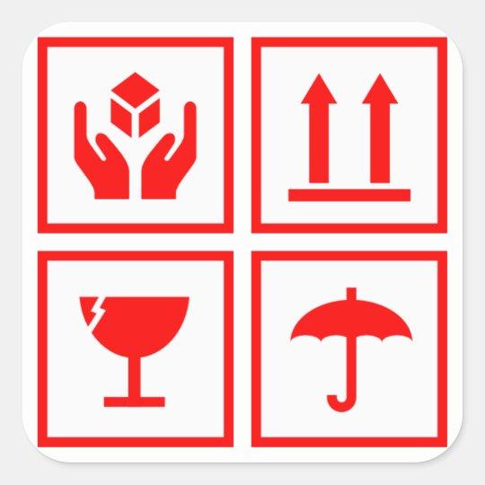 Paket Das Symbol Rot Behandelt Quadratischer Aufkleber