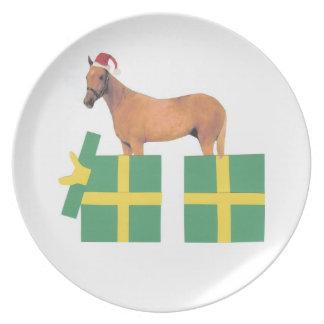 Palamino PferdeWeihnachtsmannmütze-Geschenk-Kasten Flache Teller