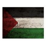 Palästina-Flagge auf altem hölzernem Korn Postkarte