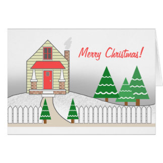 Palisadenzaun-Schnee-Szenen-Weihnachtskarte Karte