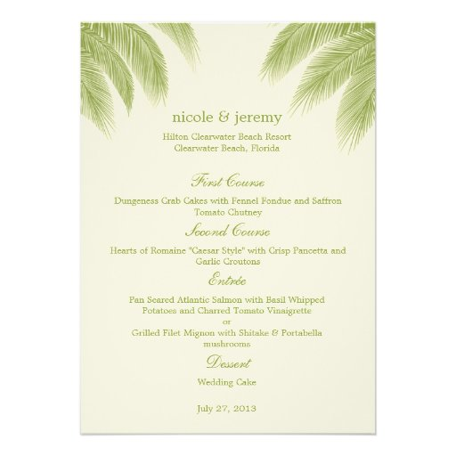 Palm Beach, das Menü-Karte - Grün Wedding ist Einladungskarten