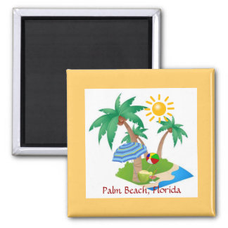 Palm Beach, Florida-Kühlschrankmagnetschablone Quadratischer Magnet