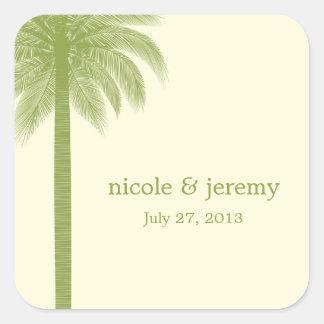 Palm- BeachGastgeschenk Hochzeits-Aufkleber - Grün Quadrat-Aufkleber