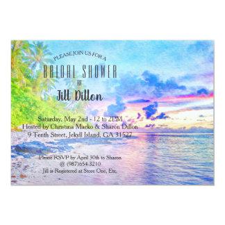Palm- Beachsonnenuntergangwatercolor-Brautparty Karte