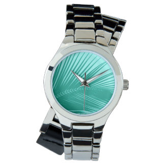 Palmblatt - Türkis und Aqua Armbanduhr