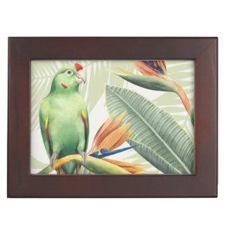 Palmblätter mit grünem Vogel Erinnerungsdose