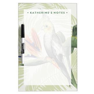 Palmblätter mit schwarzem Vogel Trockenlöschtafel
