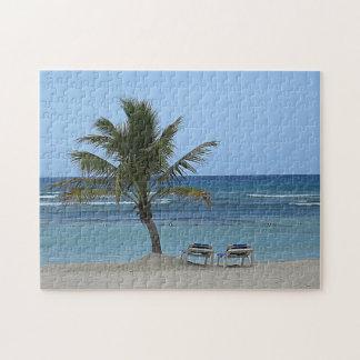 Palme auf dem Strand Puzzle