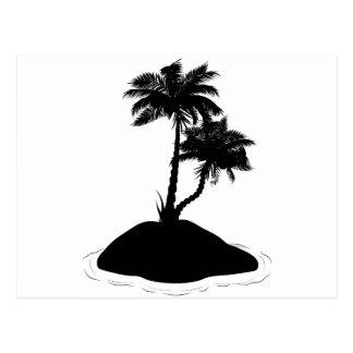 Palme auf Insel-Silhouette Postkarte