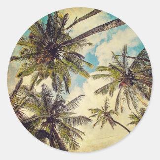 Palme-Aufkleber Kauais Vintager Runder Aufkleber