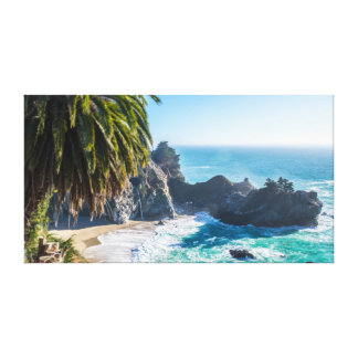 Palme | Brandung des Ozean-| Meer| Leinwanddruck