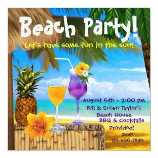Palme-Cocktail-erwachsenes Strand-Party Quadratische 13,3 Cm Einladungskarte
