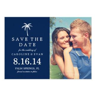 Palme-Foto, das Save the Date {Marine, Wedding ist Personalisierte Ankündigungskarte