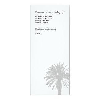 Palme-Hochzeitsprogrammschablone 10,2 X 23,5 Cm Einladungskarte