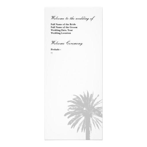 Palme-Hochzeitsprogrammschablone Personalisierte Einladung