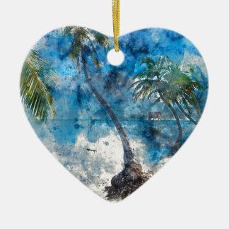 Palme im Amber Caye Belize Keramik Ornament