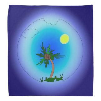 Palme im Meer. Sun ist glänzend Kopftuch