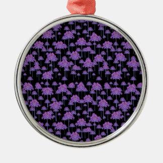 Palme-Motiv-Muster Rundes Silberfarbenes Ornament