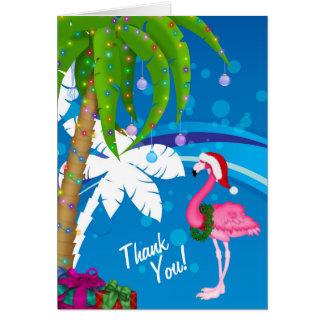 Palme-Sankt-Flamingo-Feiertags-Strand danken Ihnen Karte