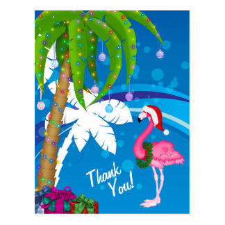 Palme-Sankt-Flamingo-Feiertags-Strand danken Ihnen Postkarte