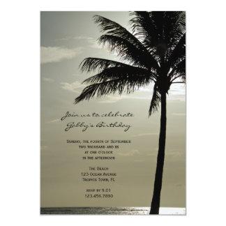 Palme-Silhouette-Strand-Geburtstags-Party laden 12,7 X 17,8 Cm Einladungskarte