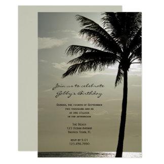 Palme-Silhouette-Strand-Geburtstags-Party laden Karte