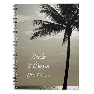 Palme-Silhouette-Strand-Hochzeit Spiral Notizblock