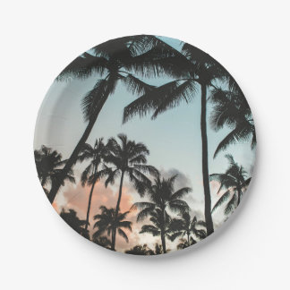 Palme-Silhouetten Pappteller