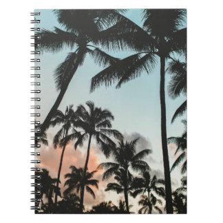 Palme-Silhouetten Spiral Notizblock