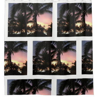 Palme-Sonnenuntergang Duschvorhang