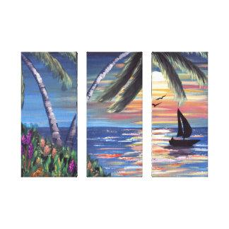 Palme-Sonnenuntergang-Ozean-Malerei Leinwanddruck