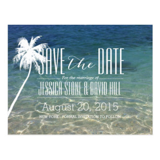 Palme-Strand-Sommer Save the Date Wedding Postkarte