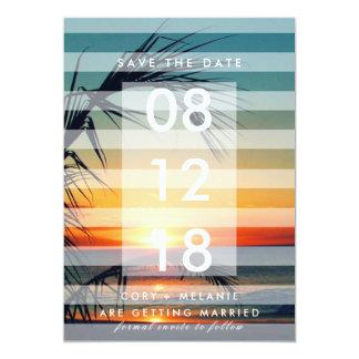 Palme-Strand-Sonnenuntergang-Foto retten die Daten Karte